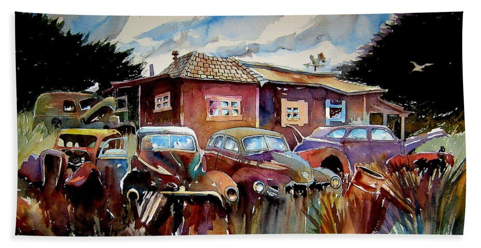 Cars Beach Towel featuring the painting The Yard Ornaments by Ron Morrison