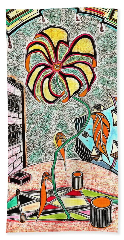 The Yard Sureal Beach Towel featuring the drawing The Yard by Yury Bashkin