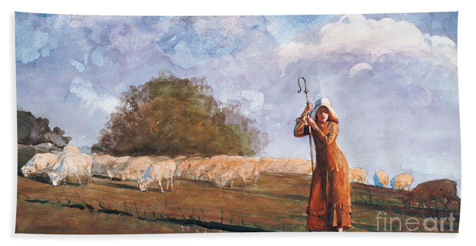 The Young Shepherdess Beach Towel featuring the painting The Young Shepherdess by Winslow Homer