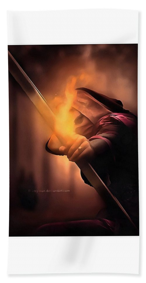 The_archer_by_amy Beach Towel featuring the digital art Thearcher by Kirana Job