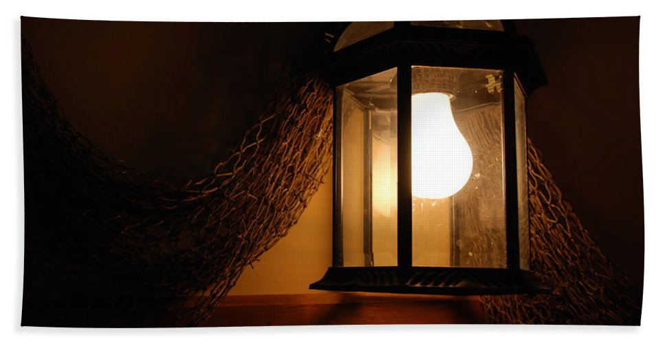Lantern Beach Towel featuring the photograph There Is Light In The Dark by Susanne Van Hulst