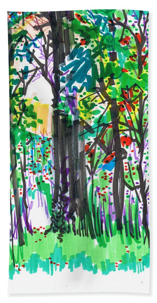 Forest Beach Towel featuring the drawing Thicket by Seth Weaver