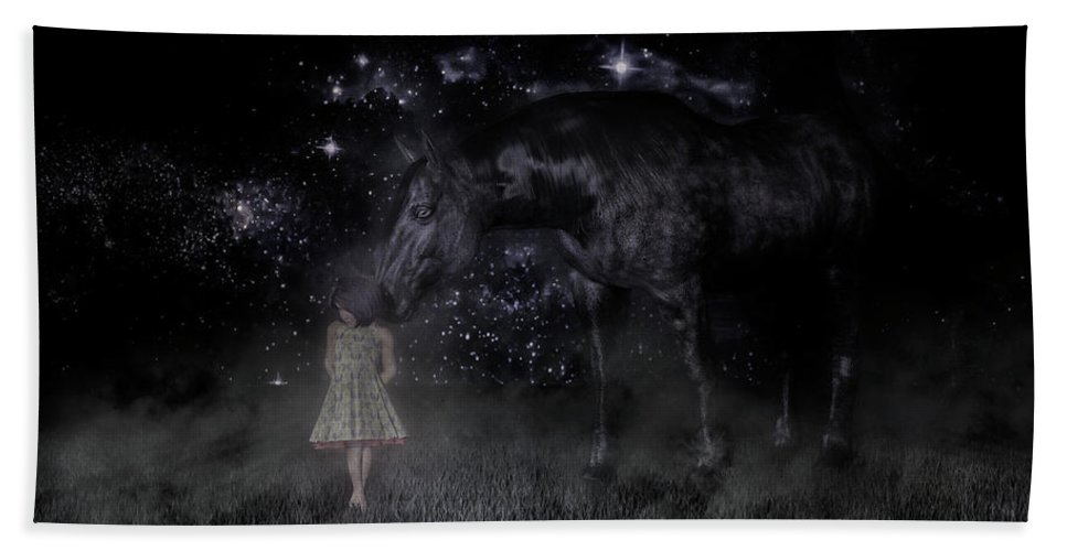 Horse Beach Sheet featuring the digital art Thinking Of You by Betsy Knapp