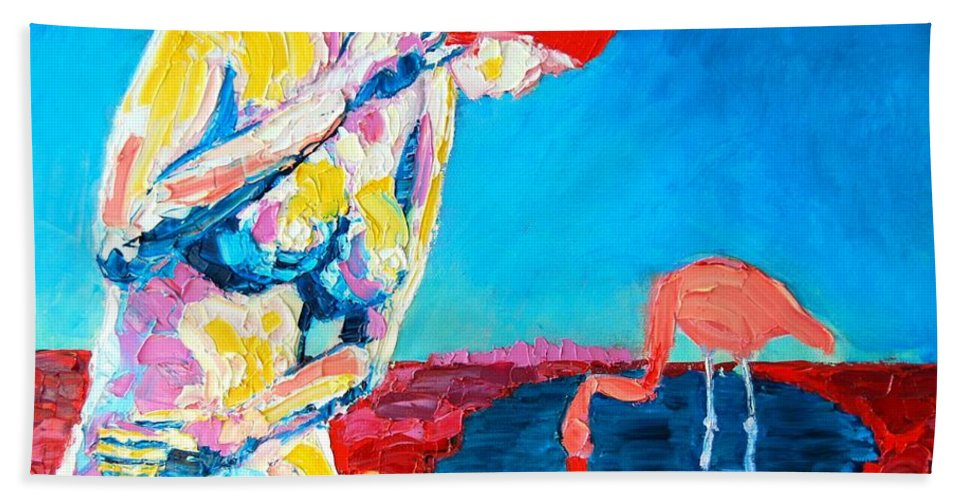 Nude Beach Towel featuring the painting Thinking Woman by Ana Maria Edulescu