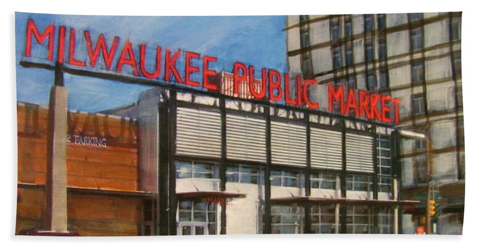 Milwaukee Beach Towel featuring the mixed media Third Ward - Milwaukee Public Market by Anita Burgermeister