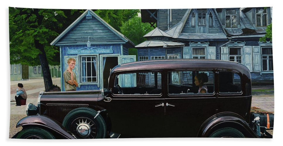 Fiat Beach Towel featuring the painting Thirsty by Oleg Konin