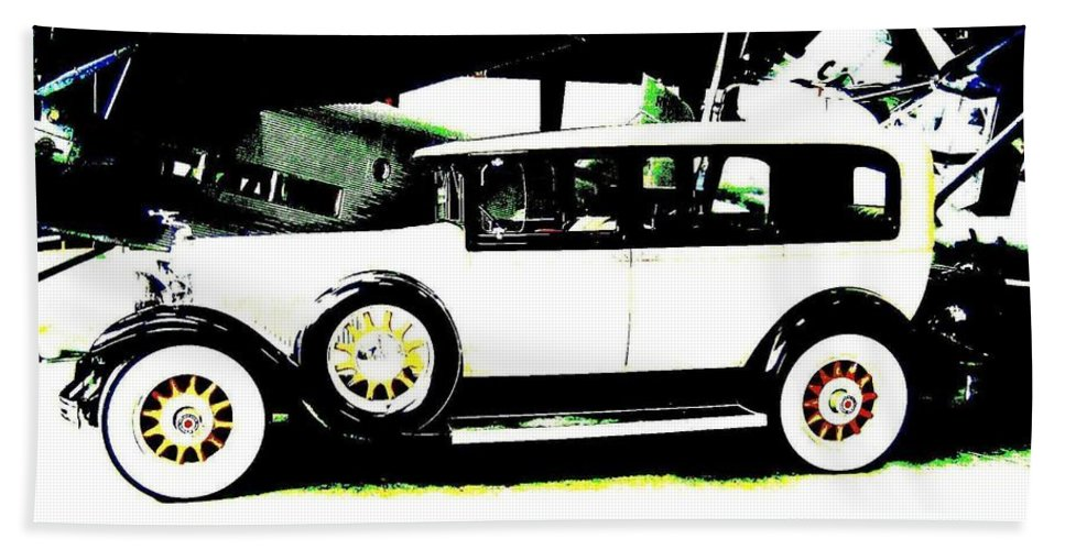 Packard Beach Towel featuring the digital art Thirties Packard Limo by Will Borden