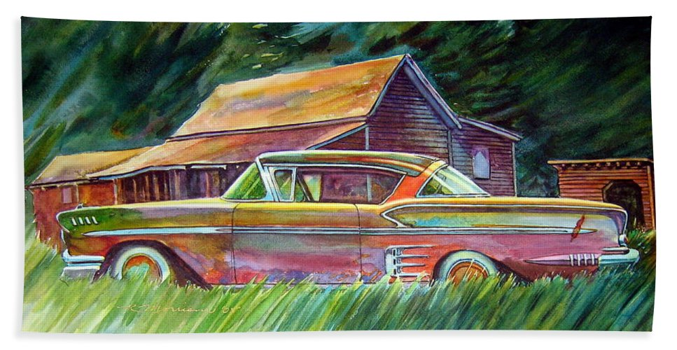 Rusty Car Chev Impala Beach Towel featuring the painting This Impala Doesn by Ron Morrison