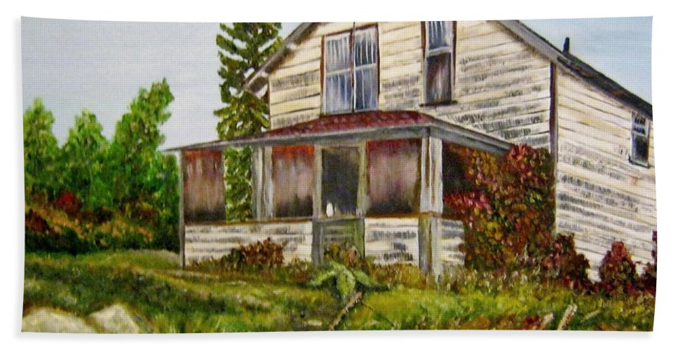 Quesnel Beach Towel featuring the painting This Old House by Marilyn McNish