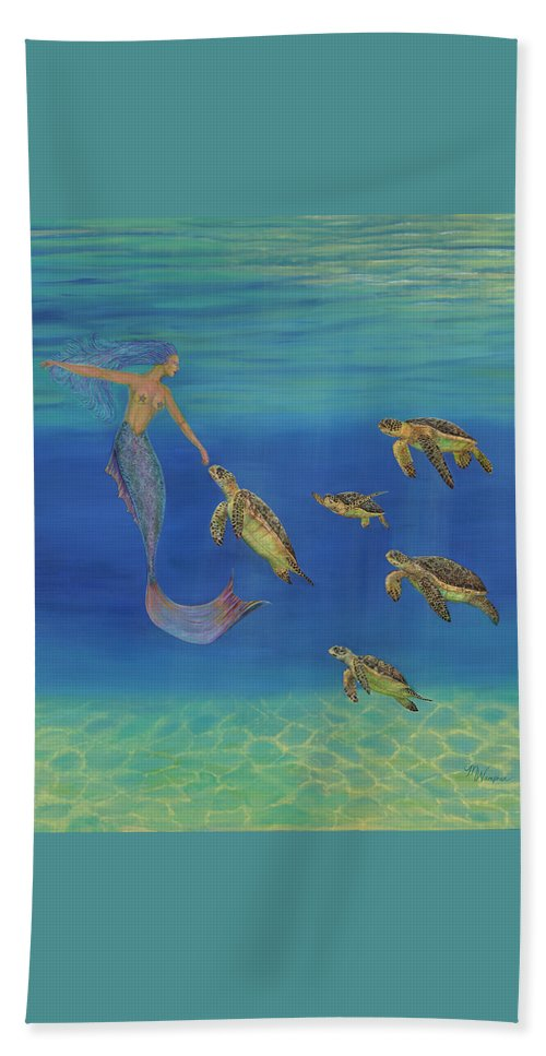 Ocean Beach Towel featuring the painting Swim This Way by Michelle Depaolis-Wampner