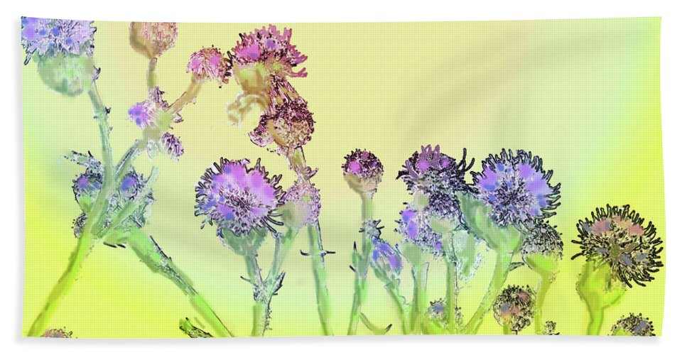 Thistles Beach Towel featuring the digital art Thistles Under The Sun by Ian MacDonald