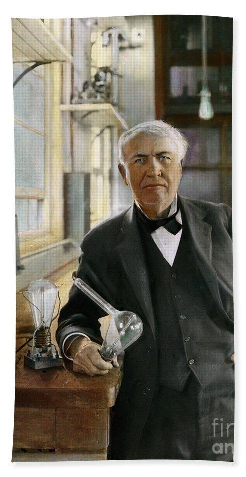1915 Beach Towel featuring the photograph Thomas Edison by Granger