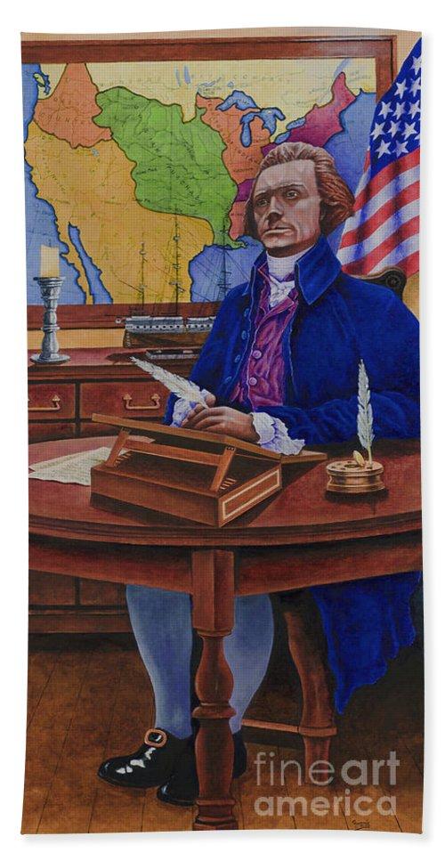 Thomas Jefferson Beach Towel featuring the painting Thomas Jefferson by Michael Frank