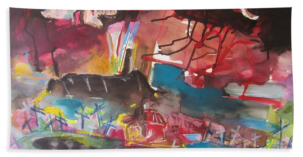 Original Beach Towel featuring the painting Three Arms10 Original Abstract Colorful Landscape Painting For Sale Red Blue Green by Seon-Jeong Kim