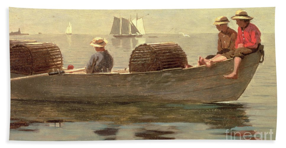 Boat Beach Sheet featuring the painting Three Boys In A Dory by Winslow Homer