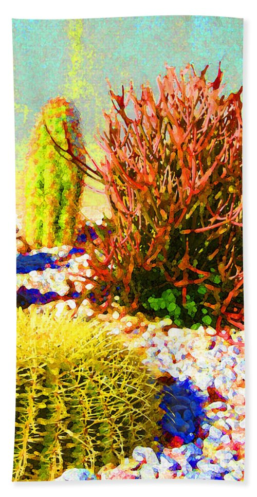 Landscape Beach Towel featuring the painting Three Cacti by Amy Vangsgard