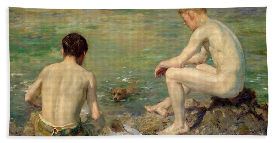 Bal13741 Beach Towel featuring the painting Three Companions by Henry Scott Tuke