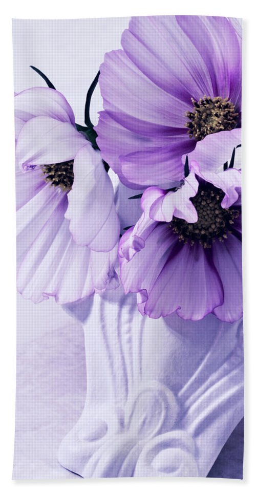 Cosmo Beach Towel featuring the photograph Three Lavender Cosmos by Sandra Foster