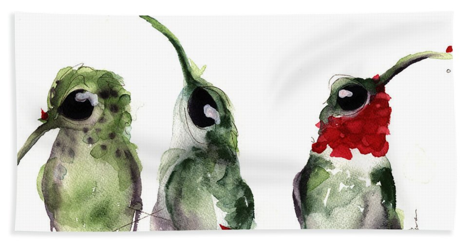 Hummingbird Beach Towel featuring the painting Three Little Hummers by Dawn Derman
