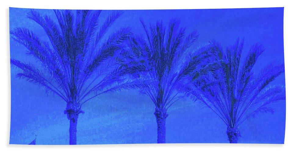 Blue Beach Towel featuring the photograph Three Palms And One Flag by Dana Peters-Colley