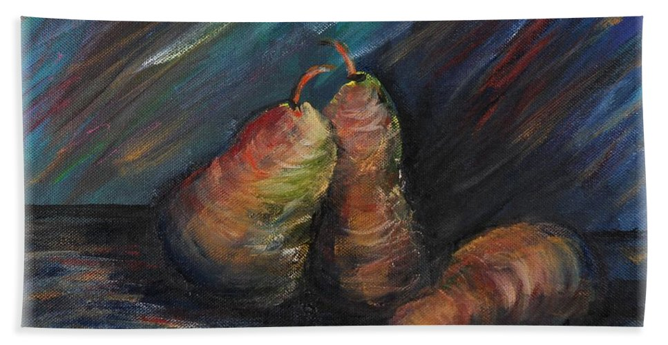 Pears Fruit Stilllife Blue Red Gold Orange Beach Sheet featuring the painting Three Pears by Nadine Rippelmeyer