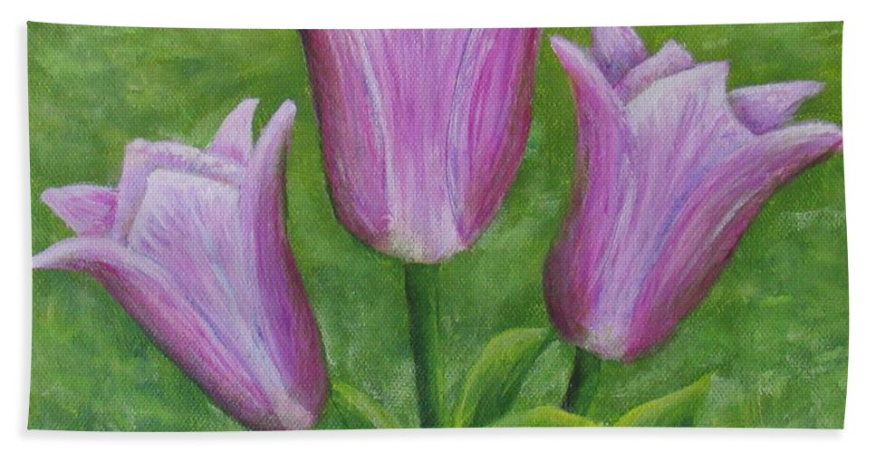 Tulips Beach Towel featuring the painting Three Pink Tulips by Nancy Nale