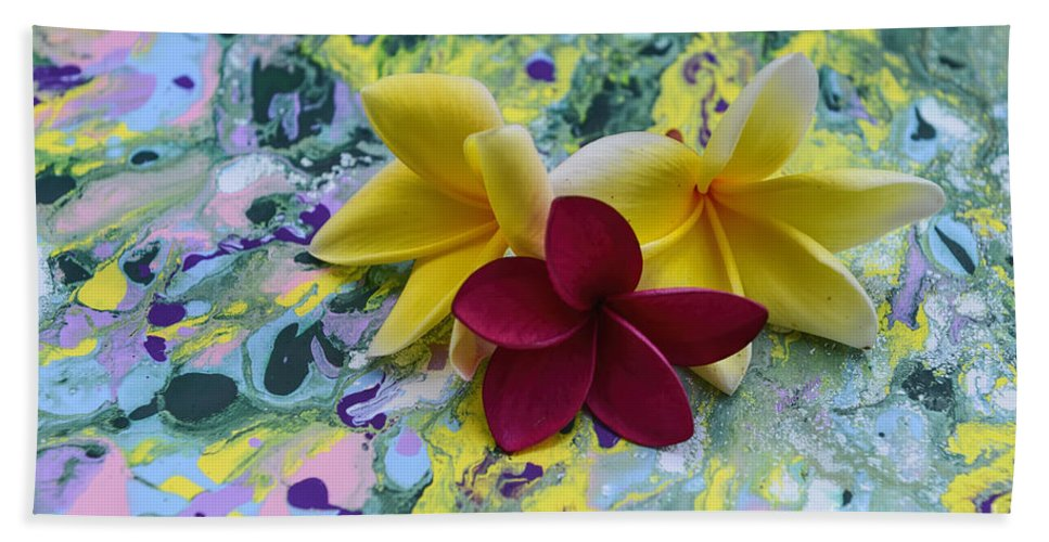 Magenta Plumeria Flower Beach Towel featuring the photograph Three Plumeria Flowers by Olga Hamilton