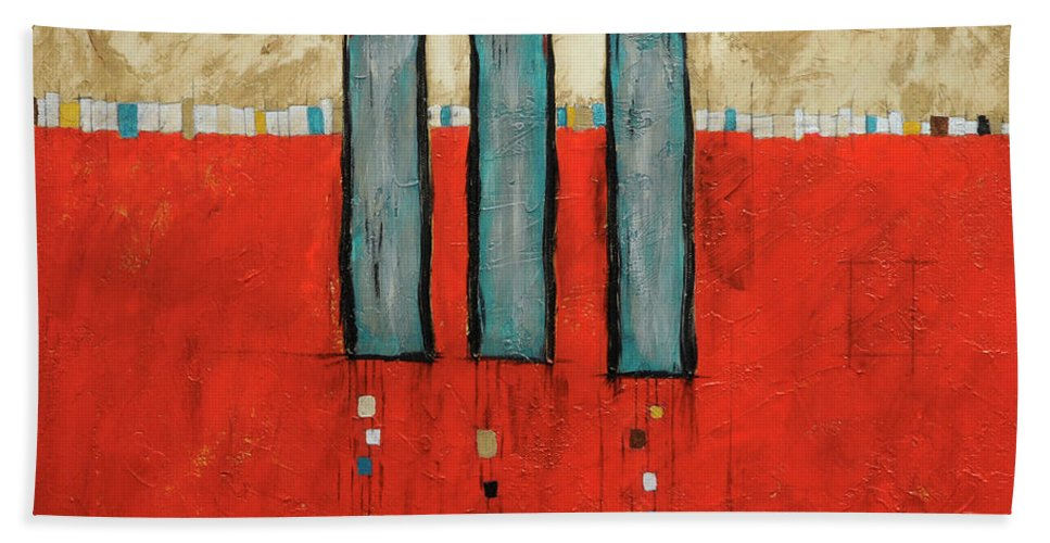 Acrylic Beach Towel featuring the painting Three Sisters by Jim Benest