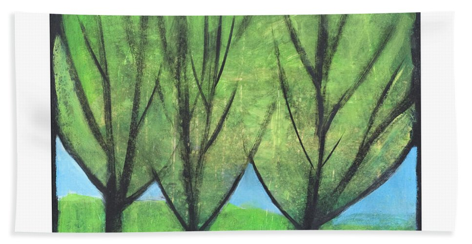 Trees Beach Sheet featuring the painting Three Sisters by Tim Nyberg