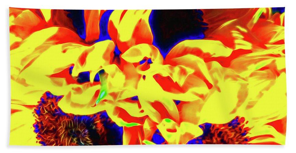 Sunflower Beach Towel featuring the photograph Three Sunflowers by Jerome Stumphauzer