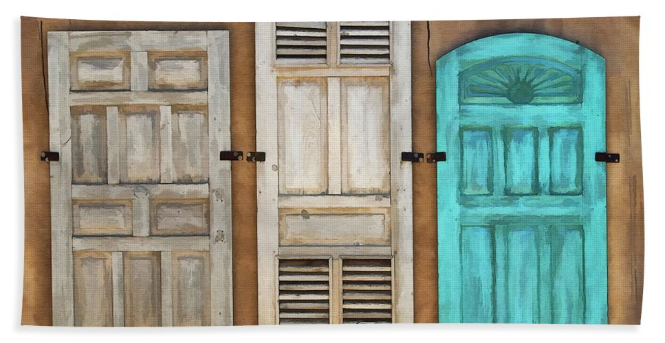 Taos Beach Towel featuring the digital art Three Taos Doors by Sharon Foster