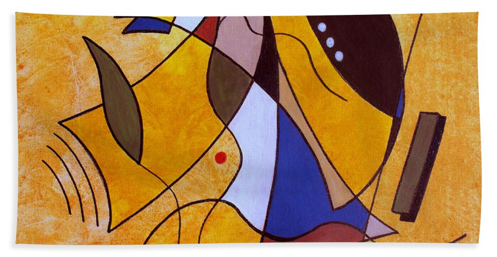 Abstract Beach Towel featuring the painting Three White Petals by Ruth Palmer