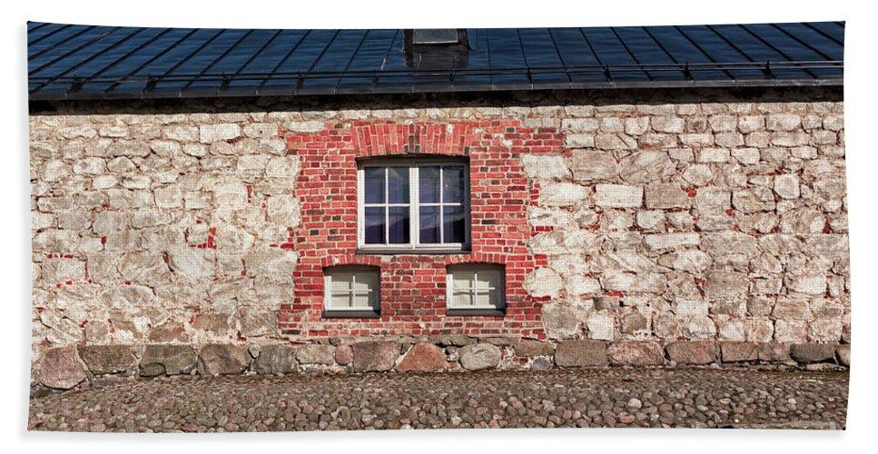 Copy Space Beach Towel featuring the photograph Three Windows On A Brick Wall by Jukka Heinovirta