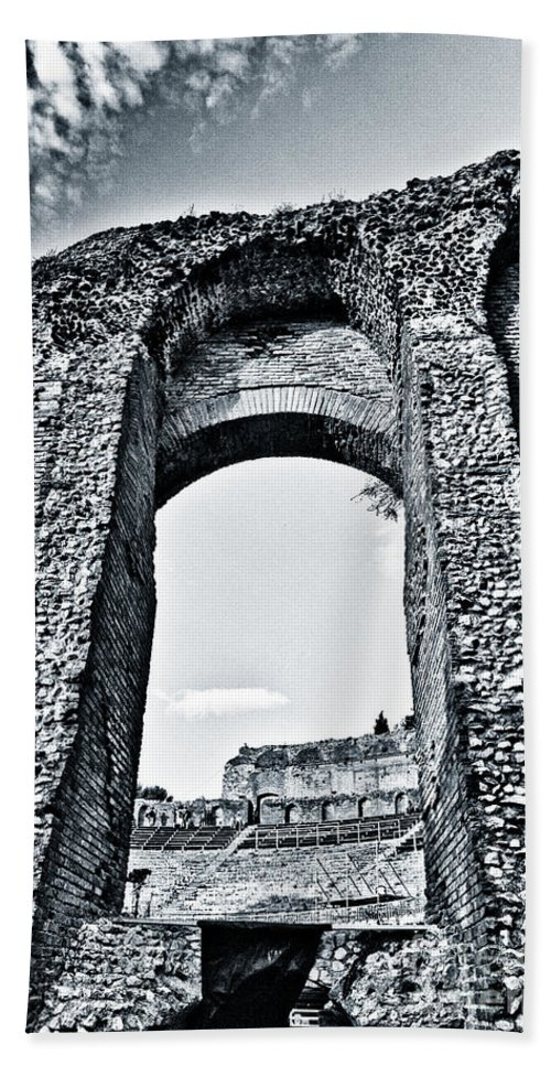 Antiquity Beach Towel featuring the photograph Through The Arch In A Sicily Ruin by Madeline Ellis