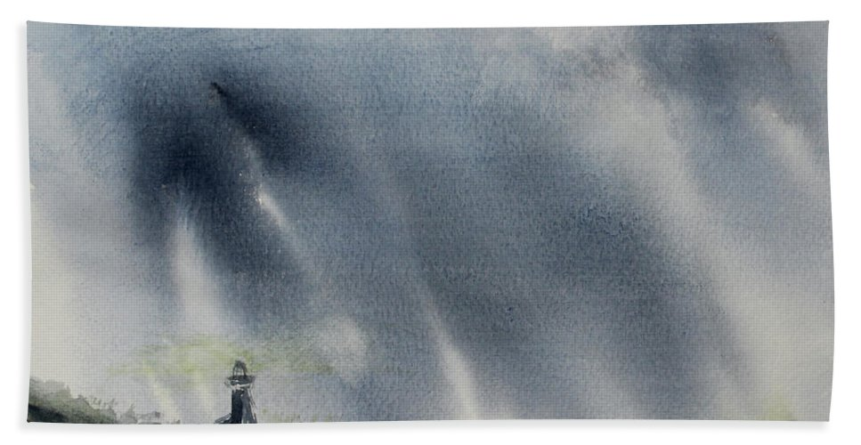 Lighthouse Beach Towel featuring the painting Thursday Night Storm by Stephen Parulski