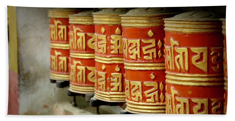 Tibetan Beach Towel featuring the photograph Tibetan Prayer Wheel by Molly Leary