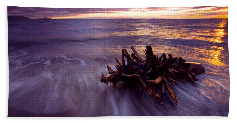 Sunset Beach Towel featuring the photograph Tide Driven by Mike Dawson