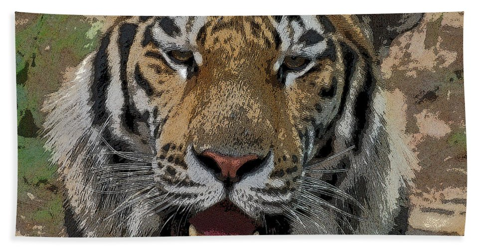 Tiger Beach Towel featuring the photograph Tiger Abstract by Ernie Echols