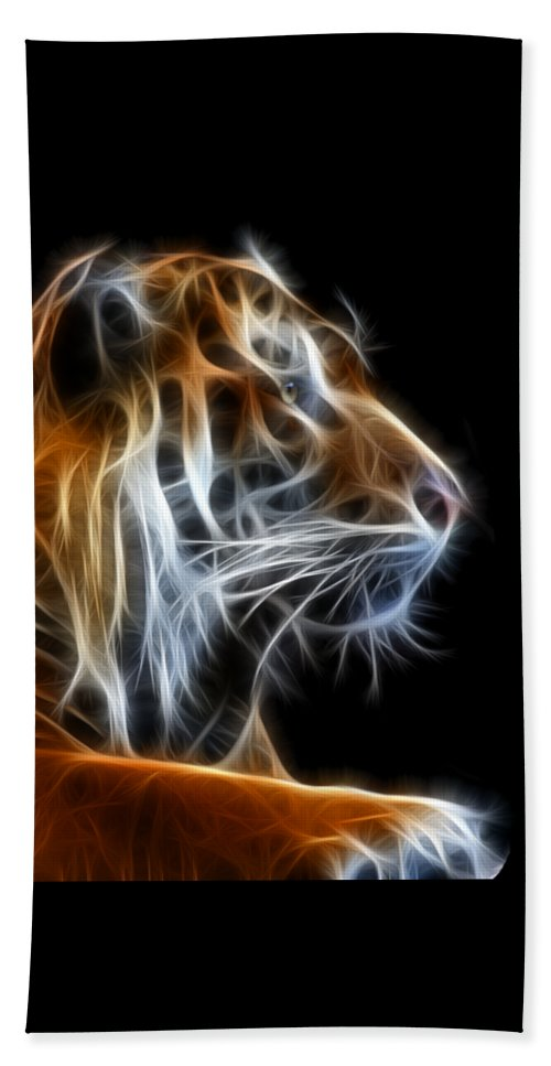 Tiger Beach Towel featuring the photograph Tiger Fractal 2 by Shane Bechler