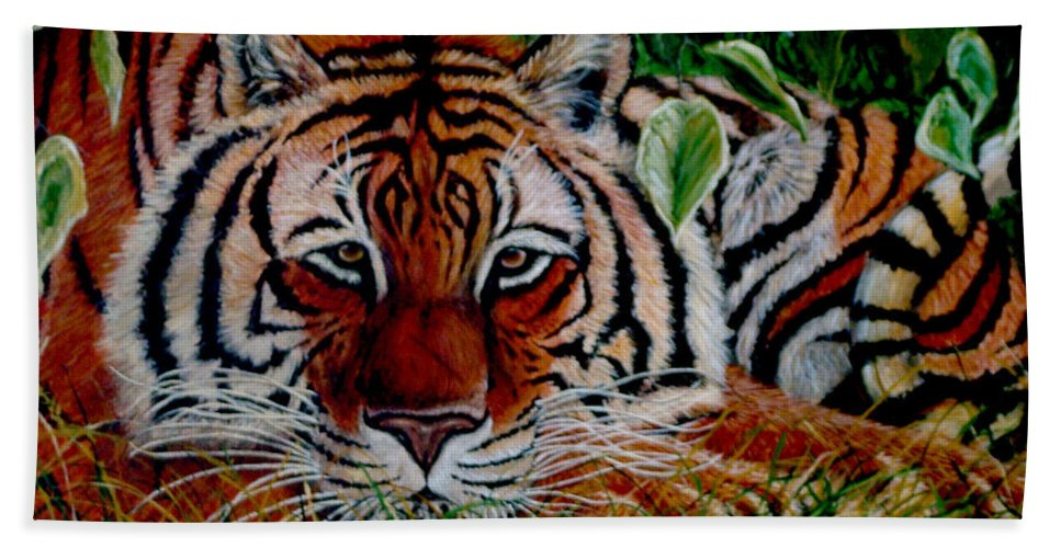 Tiger Beach Towel featuring the painting Tiger In Jungle by Nick Gustafson