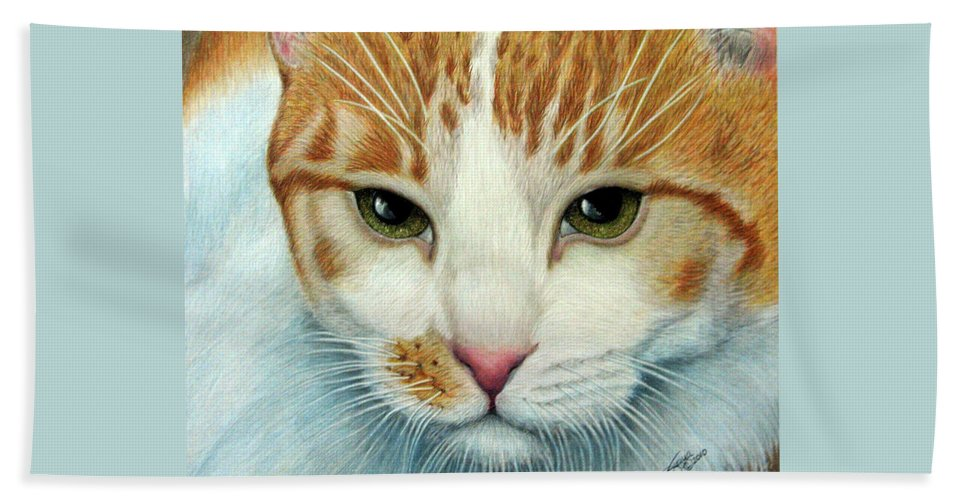 Kittens Beach Towel featuring the drawing Tiger Lily by Beverly Fuqua
