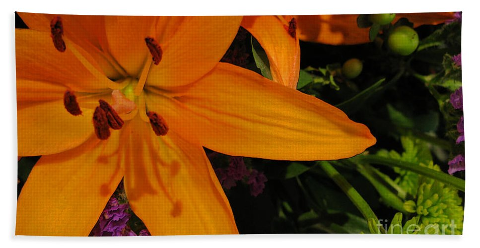 Tiger Lily Beach Towel featuring the photograph Tiger Lily Bouquet by Ann Horn