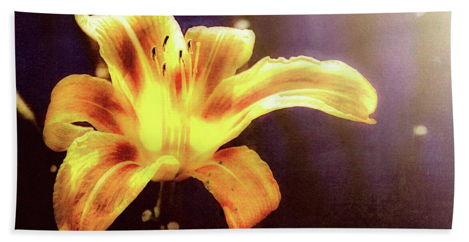 Flowers Beach Towel featuring the photograph Tiger Lily On Waters Edge by Bob Orsillo