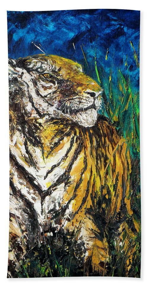 Tiger Beach Towel featuring the painting Tiger Night Hunt by Shirley Heyn