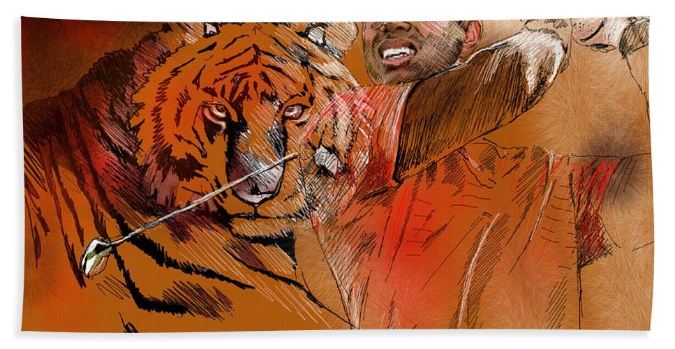 Golf Art Painting Portrait Tiger Woods Aninla Tiger Beach Towel featuring the painting Tiger Woods Or Earn Your Stripes by Miki De Goodaboom