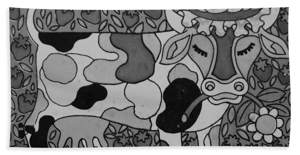Pop Art Beach Towel featuring the photograph Tile Cow by Rob Hans