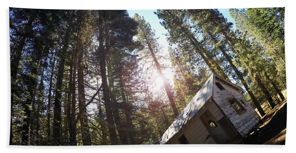 Dilapidated Beach Towel featuring the photograph Tilted House, Real Estate Series by Aaron James