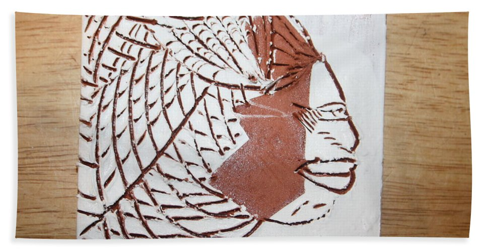 Jesus Beach Towel featuring the ceramic art Time - Tile by Gloria Ssali