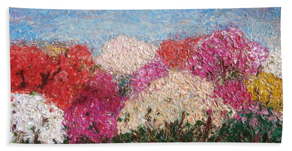Rhododendron Beach Towel featuring the painting Time Of Rhododendron by Inga Leitasa ArtBonBon