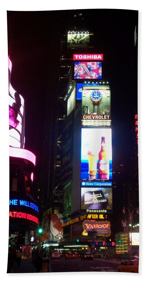 Times Square Beach Towel featuring the photograph Times Square 1 by Anita Burgermeister